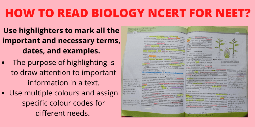how to use highlighters to mark important points in ncert biology for neet