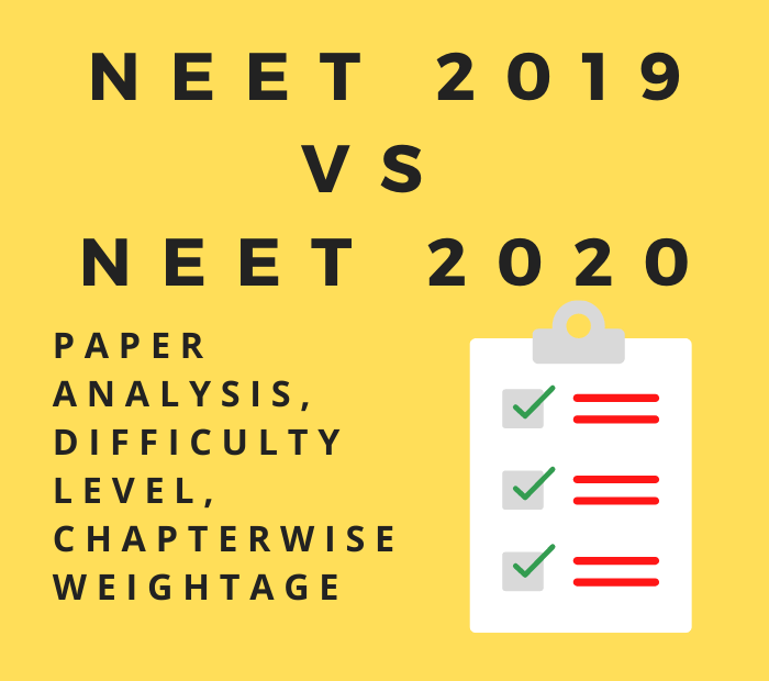 neet 2019 vs neet 2020 paper analysis, difficulty level and chapterwise weightage